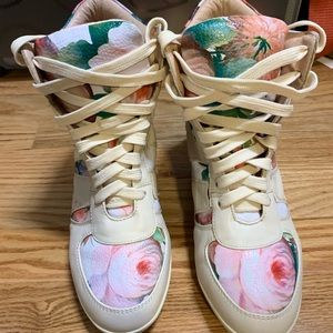 Floral high top sneaker heels!
